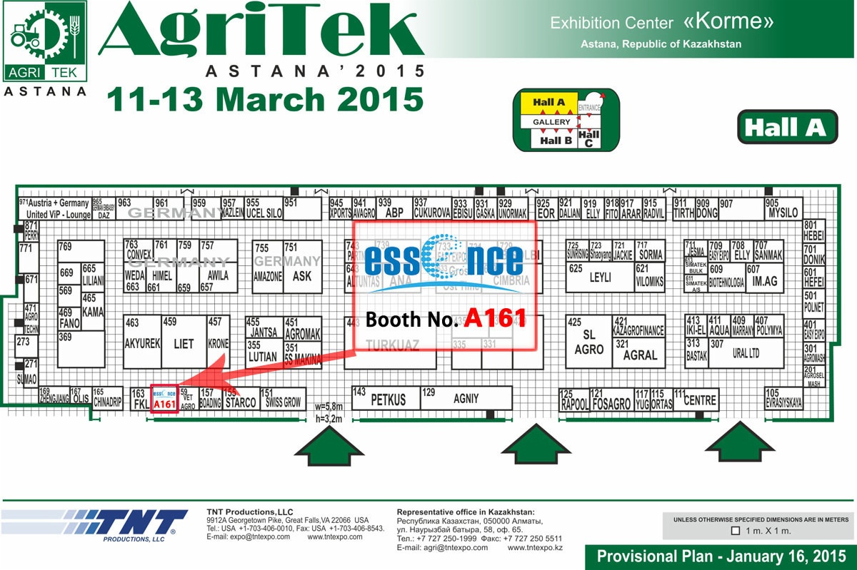 floor plan of Agritek Astana 2015 March 11-13 Kazakhstan